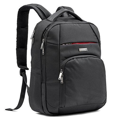 Laptop Rucksack, Evecase 10 L Profi-Rucksack Daypack mit Laptopfach 15.6 Zoll/ Akteneinteilung / Tabletfach/ Zubehörfächer/ Lasche für Trolleybefestigung - Schwarz
