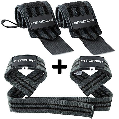 Fitgriff Handgelenk Bandagen + Zughilfen (2Paar/4Stück) Premium Fitness Set für Kraftsport, Bodybuilding und Krafttraining - für Frauen und Männer - 2 Jahre Gewährleistung (Grau)