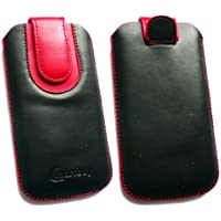 Emartbuy ® Schwarz / Rot PU Leder Tasche Hülle Schutzhülle Case Cover (Größe 4Xl) mit Ausziehhilfe Geeignet Für Mobistel Cynus T2