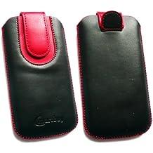 Emartbuy® Negro / Rojo Premium Cuero PU Funda Carcasa Case Tipo Bolsa ( Size 3XL ) con Mecanismo de Pestaña para Estirar adecuada para Bogo LIfestyle 4SL-QC Smartphone 4 Inch