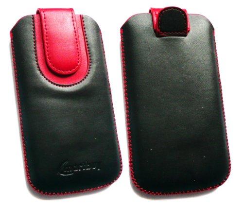 Emartbuy® Schwarz / Rot Premium PU Leder Slide in Hülle Tasche Sleeve Halter ( Größe 3XL ) Mit Pull Tab Mechanism Passend für Lumigon T2 HD