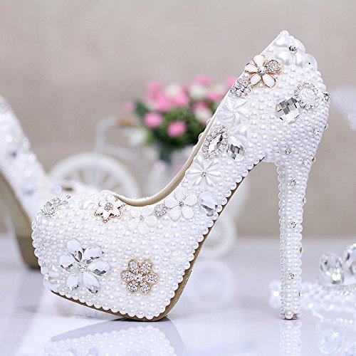Si& Hochzeitsschuhe der Frauen / Prinzessin und Braut / Perle / Stilett-Ferse / runde Spitze Wasserdichte Plattform / Sandelholze mit hohem Absatz / weiße Tanzschuhe 14CM