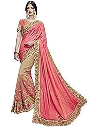 Sareena Designer Sarees Women's Pink Georgette & Net Heavy Party Wear Sarees For Women Latest Design 2018 Mega... - B07FSMWKGK