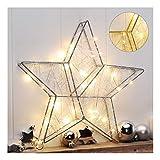Metallstern mit 40 warm-weißen LED's LED Stern Metall Weihnachtsbeleuchtung Fenster Weihnachtsstern Weihnachten Deko