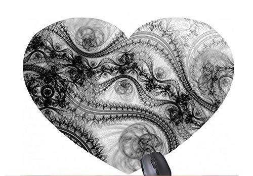 Black Lace Floral Design-Muster mit herzförmiger Mausunterlage (Von Gucci Florale)