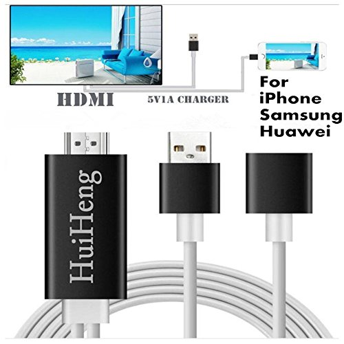 HuiHeng 3 in 1 Full HD Mirroring Cable HDMI Cable Lightning MHL to HDMI Cable Plug and Play HDTV Adaptor Cable For iPhone iPad Samsung
