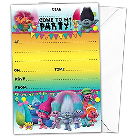 Pack of 20 Glossy Birthday Party Invitations Cards inspired by Trolls with 20 x Envelopes Magical Fairytale Party, gnome, dress party for