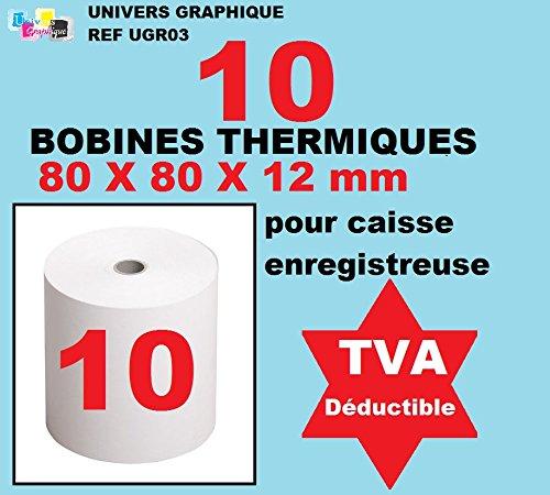 10 bobine cassa 80 x 60 x 12 mm in carta termica per registratori di cassa rotolo di carta termica