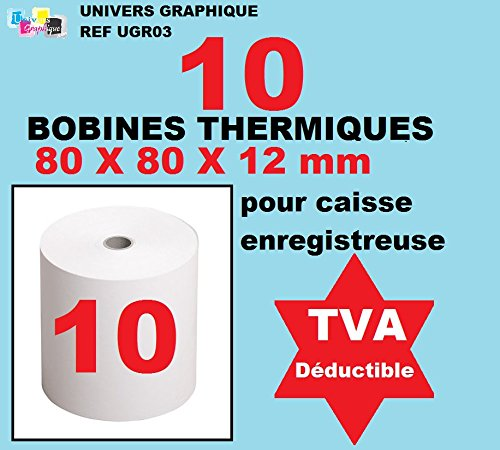 Pack de 10??? Bobina papel térmico 80x 80x 12? térmico, 80? ¿x...
