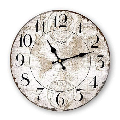 J.BZ Wanduhr alte Wanduhr Antik Vintage Look getragen Keine tickende Uhr Holzwanduhr dekorative Wanduhr Rahmenlos groß