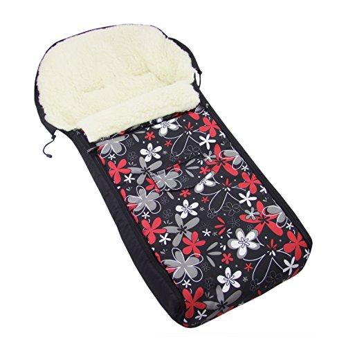 BAMBINIWELT universaler Winterfußsack (108cm), auch geeignet für Babyschale, Kinderwagen, Buggy, aus Wolle DESIGN (Schwarz Rot/Weiße Blumen)