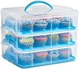 VonShef Snap and Stack Blue 3 Tier Cupcake Holder & Cake Carrier Container - Free 2 Year Warranty