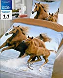 Brand sseller alta qualità motivo animali reversibile Biancheria da letto in microfibra set cavalli copripiumino: 135x 200cm federa per cuscino: 80X 80con chiusura lampo, Microfibra, Pferde2, 80x80 - 135x200