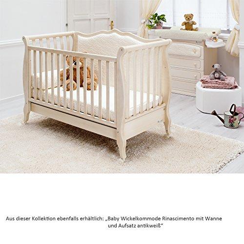 Besonderes Babybett 63×123 | Umbaubett mit gepolsterter Rücklehne Rinascimento antikweiß – erweiterbar zur Couch - 6