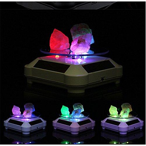 Xuba Solarbetriebene 360 Grad drehbare Display-Ständer mit Buntem LED-Licht, Drehteller für Schmuck, Uhren, Ringe, Telefondekoration