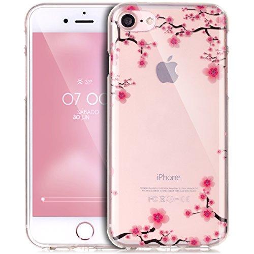 iPhone 7 Hülle,iPhone 7 Schutzhülle,iPhone 7 Silikon Hülle,ikasus® TPU Silikon Schutzhülle Case Hülle für iPhone 7,Durchsichtig mit Bunte Gemalt Muster Handyhülle iPhone 7 Silikon Hülle [Kristallklar  Rosa Pflaumenblüte