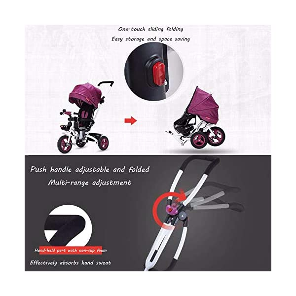 4 In 1 Childrens Folding Tricycle 360° Swivelling Saddle 6 Months To 5 Years 3-Point Safety Belt Kids Tricycle Comfortable And Adjustable Backrest Child Trike Maximum Weight 25 Kg,Pink BGHKFF ★Material: Steel frame, suitable for children from 6 months to 5 years old, the maximum weight is 25 kg ★ 4 in 1 multi-function: can be converted into baby strollers and tricycles. Remove the hand putter and awning, and the guardrail as a tricycle. ★Safety design: Golden triangle structure, safe and stable; front wheel clutch, will not hit the baby's foot; 3 point seat belt + guardrail; rear wheel double brake 6