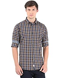 Blue with Brown Checks Full Sleeve Casual Shirt