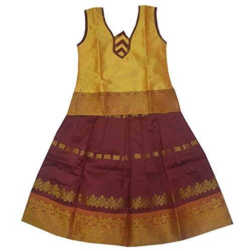 Mysilksaree Girls Pattu Pavadai Yellow & Maroon(6-12 Months_APDECYM1_16)