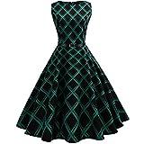 BakeLIN Kleid 50er Jahre Rockabilly Damen Vintage Blumendruck Plaid Bodycon Ärmellos Casual Abend Prom Swing Kleid Röcke Petticoat (S~XXL) (S)