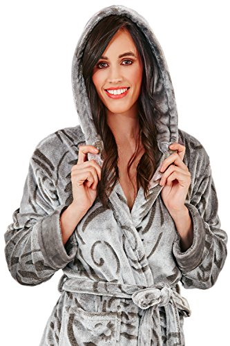 Loungeable, Damen Luxus-vlies Super Weich Freizeit Nachtwäsche Robe Paisley Hooded