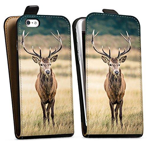 Apple iPhone 6 Plus Hülle Case Handyhülle Hirsch Wald Tier Downflip Tasche schwarz