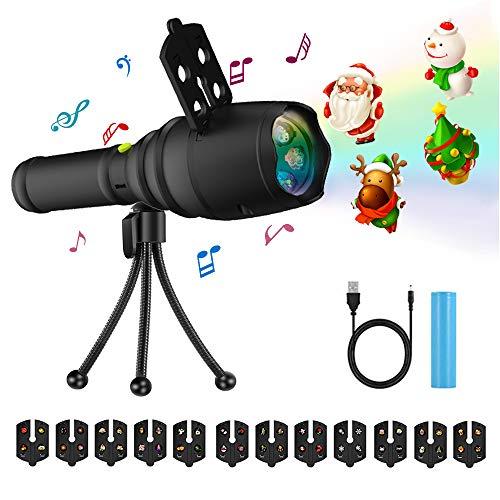 ektor Musical Lichter 12 Folien Muster, ZIUMIER Kinder Frühen Pädagogischen Spielzeug Handheld Wiederaufladbare Taschenlampe mit Stativ für Geburtstag, Thanksgiving, Neujahr Party ()