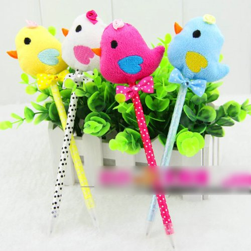 5Pcs Cute Cartoon Chick Shape Ballpoint Pen Fancy Beauty Fashion Creative Stationery(Pack of 5: random color)