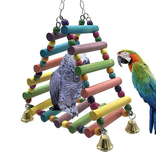 OSPet Colorful Haustier Vogel Holz Leiter Klettern Papagei Sittich Vogel Spielzeug Rainbow Bridge für Papageien Pet Training
