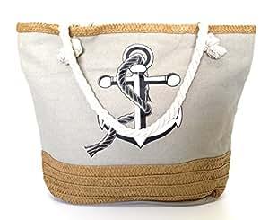 Damen Strandtasche groß XXL Shopper mit Reißverschluss, Beige