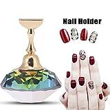 Magnetisch Nagel Tipps Ständer Halter Nail Art Tip Crystal Kunst Ausstellungsstand Salon DIY Maniküre(Bunter Diamantkristall)