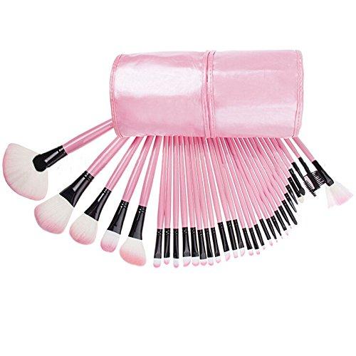 LHWY 2016 32Pcs Pro pochette sac affaire supérieure douce cosmétiques maquillage Brush Set Kit rose