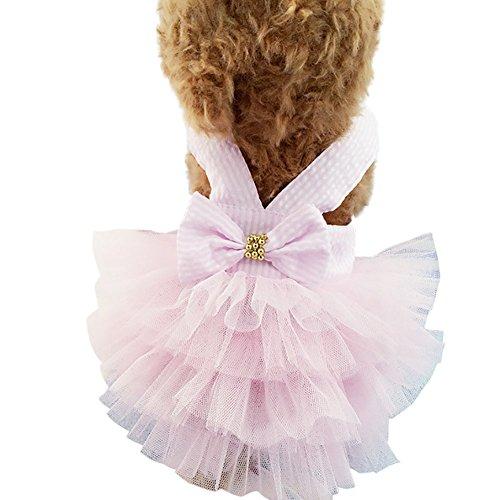 etophigh niedliches Sommer Pet Kleid Prinzessin Tutu Kleid Streifen Gurt Schleife Garn Kleidung...