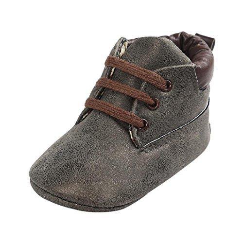 Baby Schuhe Sonnena weicher Sohle Leder Schuhe Infant Boy Mädchen Kleinkind Schuhe, 0–18Monate 0~6M dunkelgrau