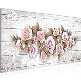 Bilder Blumen Rosen Wandbild 100 x 40 cm Vlies - Leinwand Bild XXL Format Wandbilder Wohnzimmer Wohnung Deko Kunstdrucke Rosa 1 Teilig - MADE IN GERMANY - Fertig zum Aufhängen 022312b