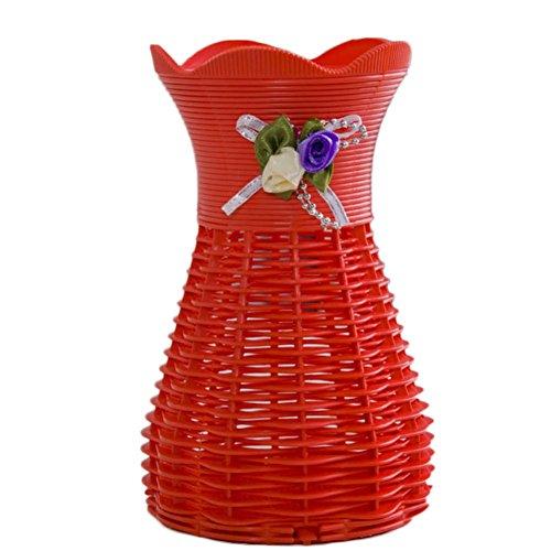 Gespout Pot de Fleurs Plastiques Rouge Petit Vase Convient pour Jardin Intérieur Balcon Extérieur