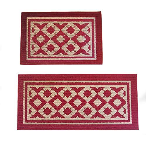 Anfayejia Home und Küche Teppiche Moderner Teppich Rutschfeste Küchenmatte Rückseite aus Gummi Fußmatte Läufer Teppich Set, Diamant Muster Design (rot 50x 75,9cm + 50x 110cm) (Läufer-gummi Treppe)