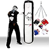 TurnerMAX Kickboxing Punch Bag Filled Boxing Set Bag Gloves Mitts, Chain Punchbag Heavy Duty Rex Leather White Black