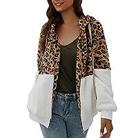 iFRich Womens Warm Leopard Print Patchwork Fleece Fuzzy Hooded Sweater Jackets Zip Up Long Sleeve Outwear Coats