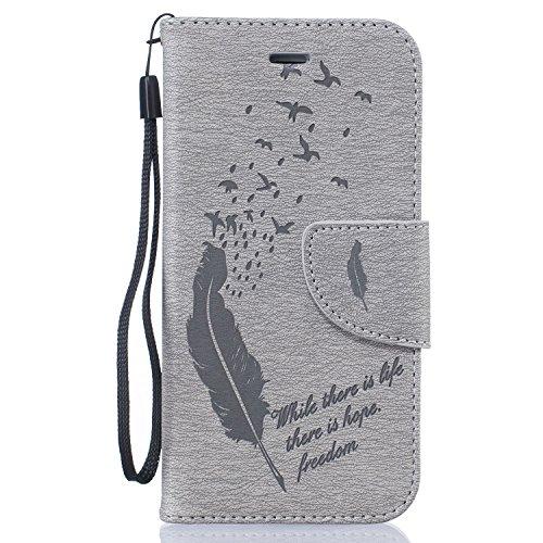 Per Apple iPhone 5 5G 5S / iPhone SE (4 Pollici) Custodia ZeWoo® Custodie in PU Pelle Case Cover - BF061 / Piuma nera BF062 / Piuma grigia