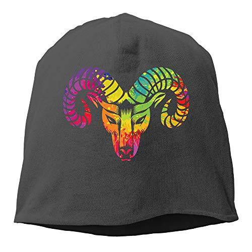 1bdc45fd60331 Wdskbg Unisex Colorful Graphic Head Goat Outdoor Trendy Skull Cap Beanie  Hat Design17