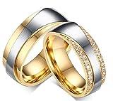 Daesar Frauen Verlobungsringe Edelstahl Ring Für Paar Gold Ringe Zirkonia Mit Geschenk-Box 54 (17.2)
