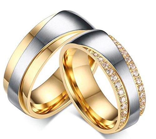 Gnzoe Herren Ringe Verlobungsringe Edelstahl Herrenringe Für Paare Gold Ringe mit Zirkonia 65 (20.7)