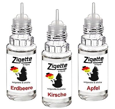 3 x 10 ml Zigette Klassiker 1 ezigarette eshisha Liquid - Erdbeere - Kirsche - Apfel - mit 0,00 Nikotin Schnäppchen sonder Preis von ReiTrade