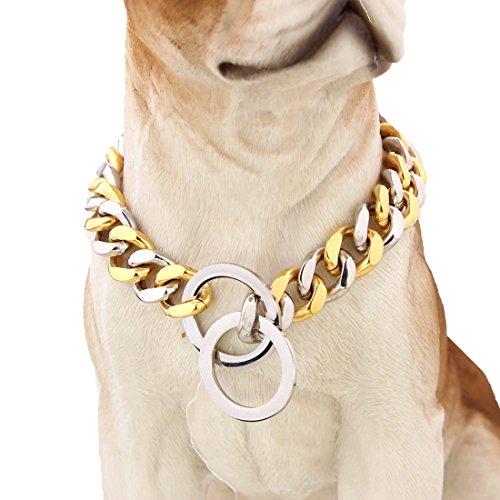 mcsays 15 mm breit Big Hip Hop Gold mit Silber Ton Edelstahl 316L Dog Choke Kette Halsband Pets Personalisierte Cut Panzerkette Cuban Link Kette 30.5-86.4 cm (Kurzen Glatte Steuerung)