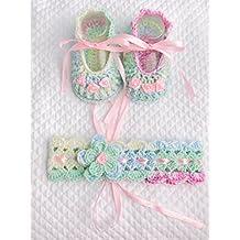 Conjunto de bebé con rosellin zapatos | banda de pelo crochet | Botas de 0/12 meses con arco | chupetero | ilnodocreativo