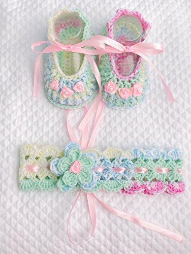 Neugeborenes Baby Taufe Set | portaciuccio Kette | Häkeln Haarband | Schuhe 0/12 Monate mit Schleife | ilnodocreativo