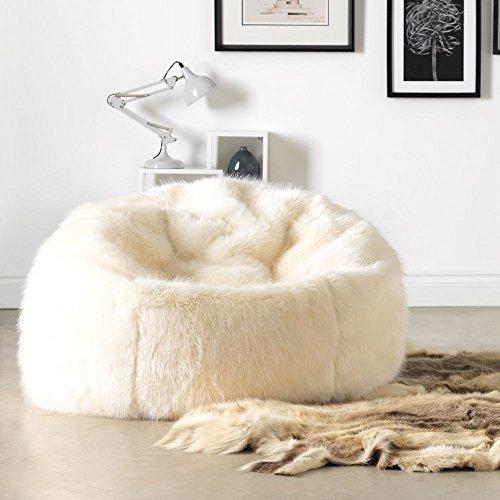 Icon Extra Großer Luxus Sitzsack - Sahne - 84cm x 70cm - Kunstpelz, Sitzsack für Erwachsene