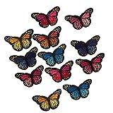 12 Stk Kleidung Patches zum aufbügeln oder Nähen, Schmetterling Patch Sticker DIY Kleidung Aufnäher Bügelbild für Shirt Jeans Kleidung