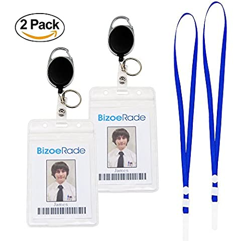 Retractable Badge Holder,2 Pack BizoeRade Heavy Duty Vertical ID Holder with Key Ring & Lanyard for Office Company Employee School Student Bus Pass ID